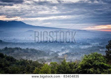 Borobudur Temple In The Morning Mist