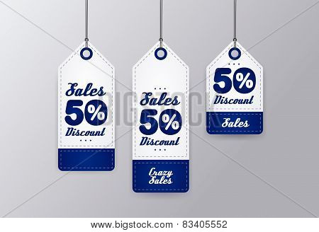 50% sale realistic blue price tag set isolated on gray background. Label. Vector illustration