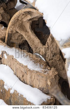Detail Of Caterpillar Track In Construction Site
