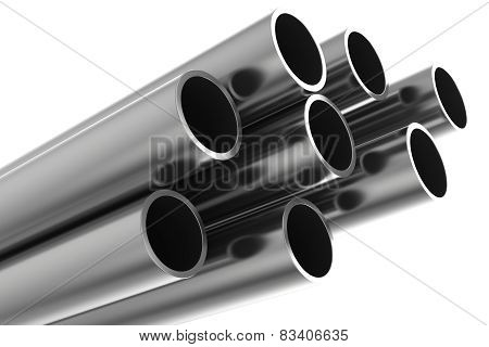 Steel Pipes on a white background.