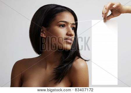 Woman With White Note To Her First Wrinkle