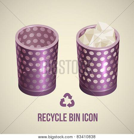 realistic recycle bin icon, Vector illustration.