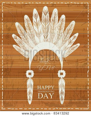 Thanksgiving day. Indian feathers.