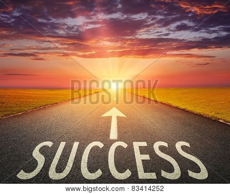 Road At Sunset And Sign Which Symbolizing Success