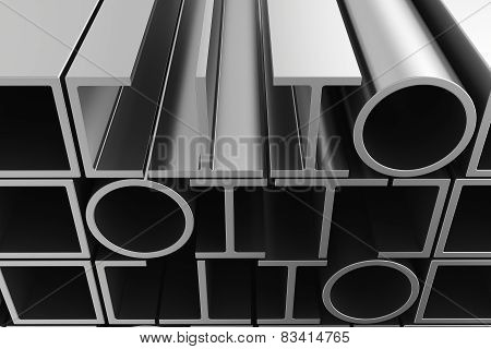 Stack of steel pipes profiles