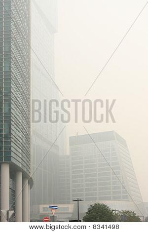 Skyscrapers Under The Heavy Smog