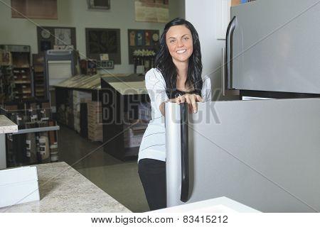A client portrait in home appliance shop supermarket store
