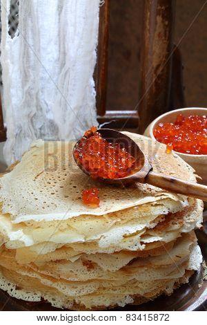 Red Caviar And Pancakes