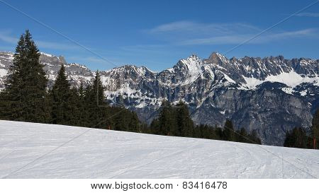 Ski Slope And View Of The Churfirsten