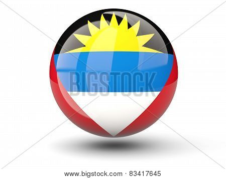 Round Icon Of Flag Of Antigua And Barbuda