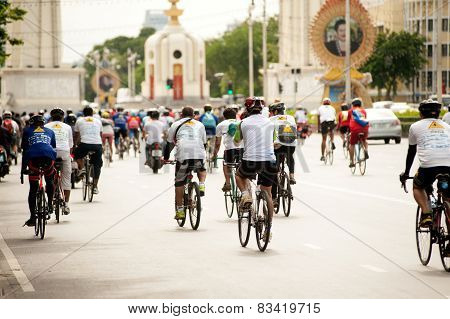 Group Of cyclists In Car Free Day,Bangkok,Thailand.