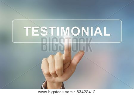 Business Hand Clicking Testimonial Button On Blurred Background