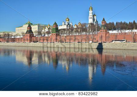 Kremlin Embankment, Wall And Churches Of The Kremlin.