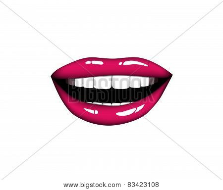 Beautiful smiling woman pink lips. Kiss Me. Vector illustration