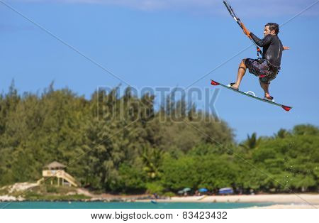 Kite Surfer At Kanaha Beach Park