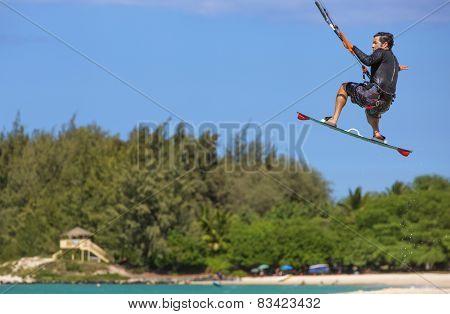 Kite Surfer At Kanaha Beach Park