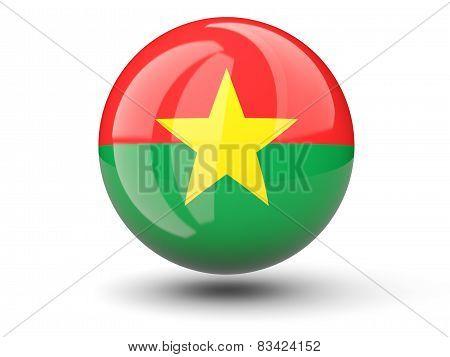 Round Icon Of Flag Of Burkina Faso
