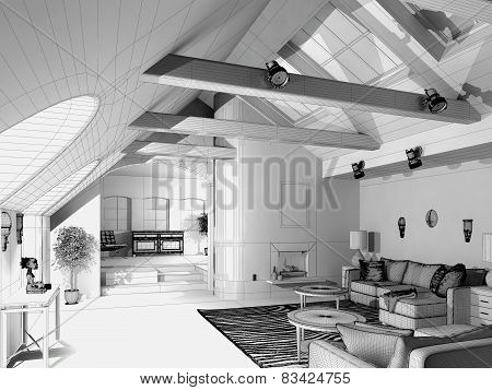 3D rendering / Wireframe of a modern house