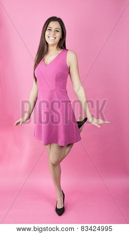 young woman pink