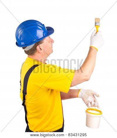 Worker with paint bucket
