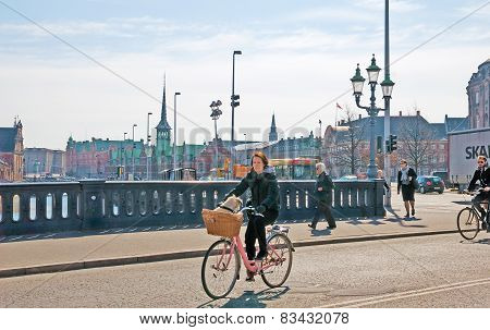 Denmark. Copenhagen. High Bridge in the center of the city