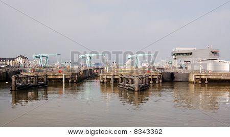 Locks on the Cardiff Barrage