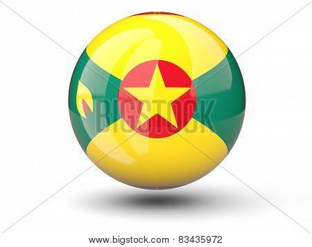 Round Icon Of Flag Of Grenada