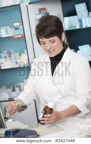 Working With Barcode Scanner In The Drugstore .