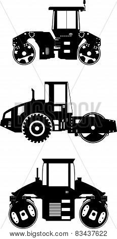 Compactors. Heavy construction machines. Vector illustration