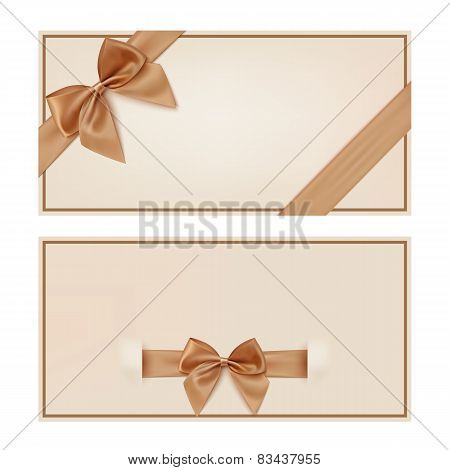 Gift voucher template with golden ribbon and a bow.