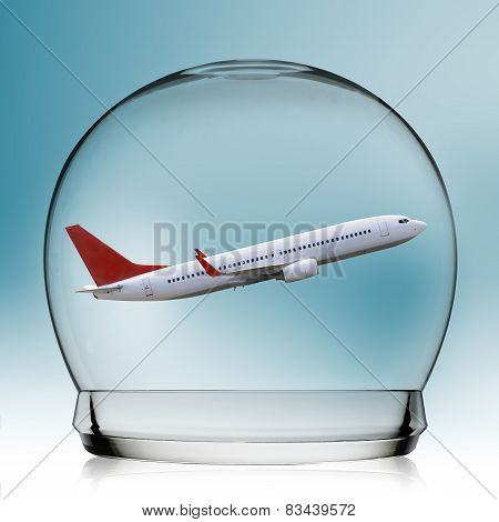 Plane flying In A Snowglobe