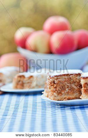 Apple pie-cake and apple strudel