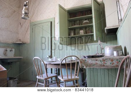 Kitchen of an abandoned house in Bodie Ghost Town
