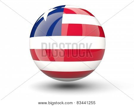 Round Icon Of Flag Of Liberia