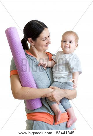 Mother and baby are ready to fitness exercises