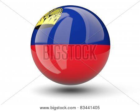 Round Icon Of Flag Of Liechtenstein