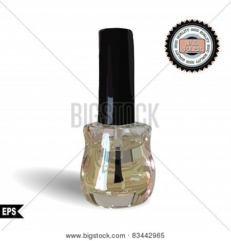 Clear nail polish on a white background. Vector.