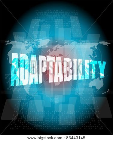 Adaptability Word On Digital Screen. Financial Background