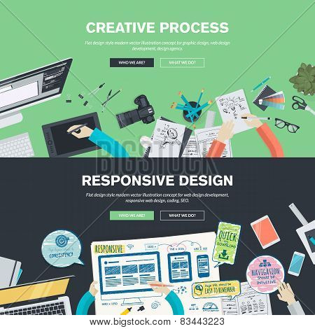 Flat Design Illustration Concepts For Creative Process, Graphic Design, Web  Design Development, Responsive Web Design, Coding, SEO, Design Agency.