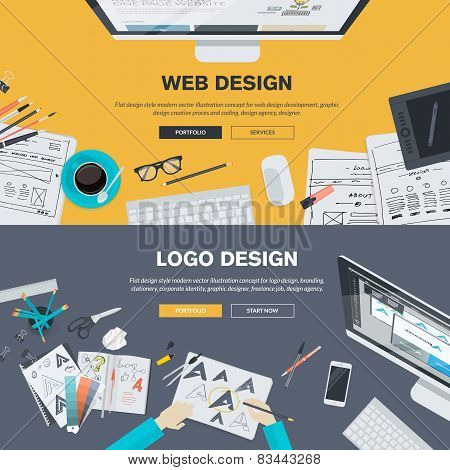 Flat design illustration concepts for graphic and web design