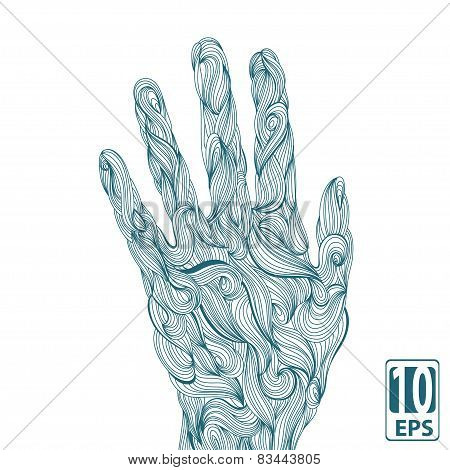 Abstract wave hands with ornament. Vector.