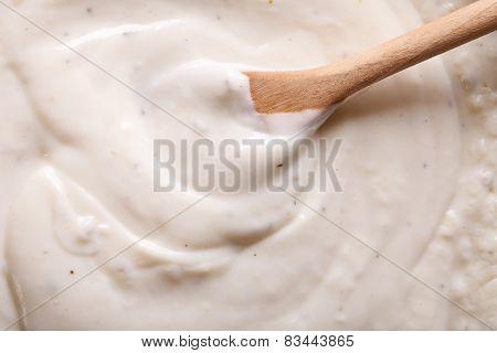 Cooking Bechamel Sauce Macro Vertical.
