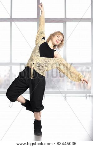 Smiling Athlete Female Dancing In Class