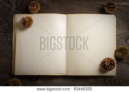 Cookbook Open On Wooden Table With Chestnut And Pine Cones