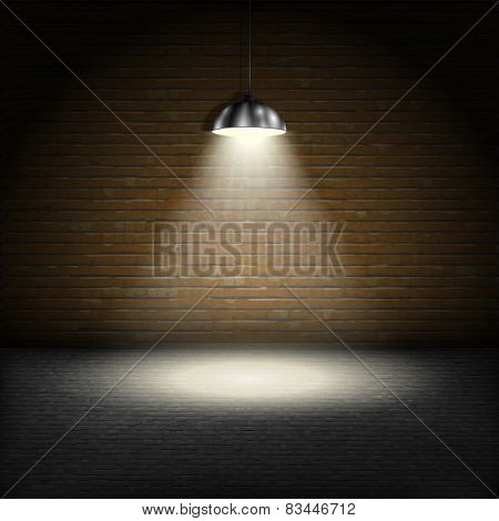 Spotlight On Brick Wall Background.