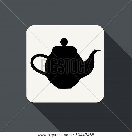 Kettle Icon With Long Shadow