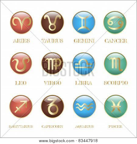 Set Zodiac Sign In Circle Frame