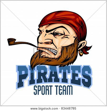 Pirate Mascot with Bandana and pipe