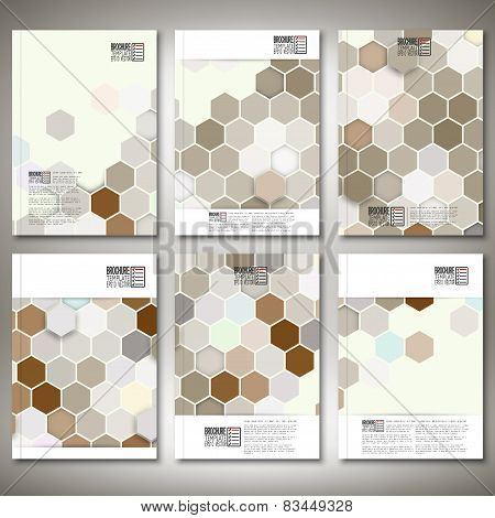 Geometric backgrounds, abstract hexagonal patterns. Brochure, flyer or report for business, template