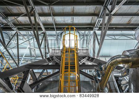Ladder in industrial interior